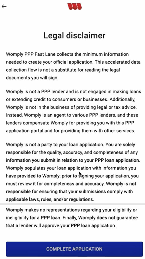 Womply legal disclaimer towards the end of their Fast Lane PPP Application.
