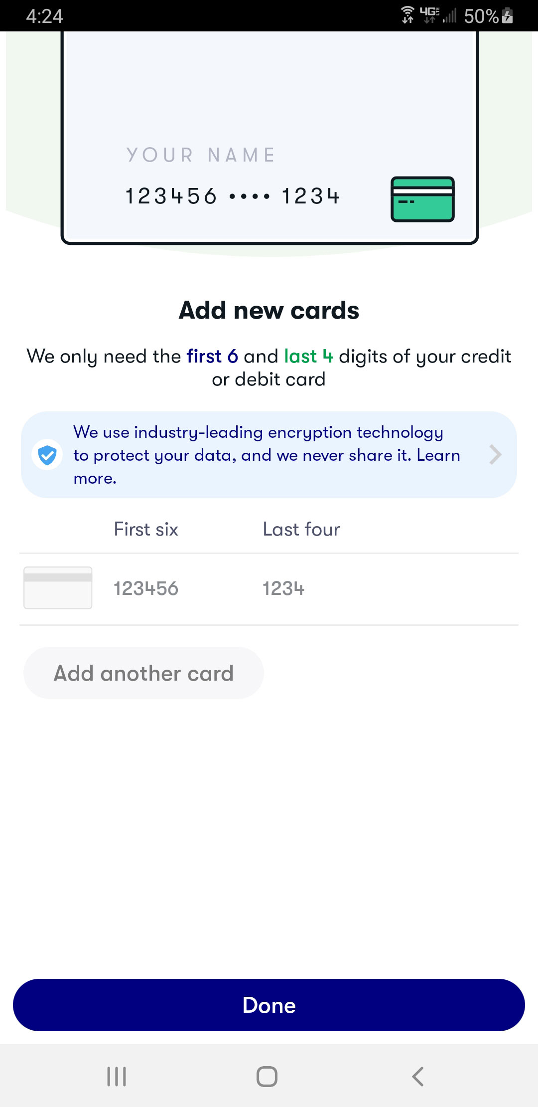 Screenshot of the add new card screen on the GetUpside app, requesting only the first 6 and last 4 digits of the credit or debit card.