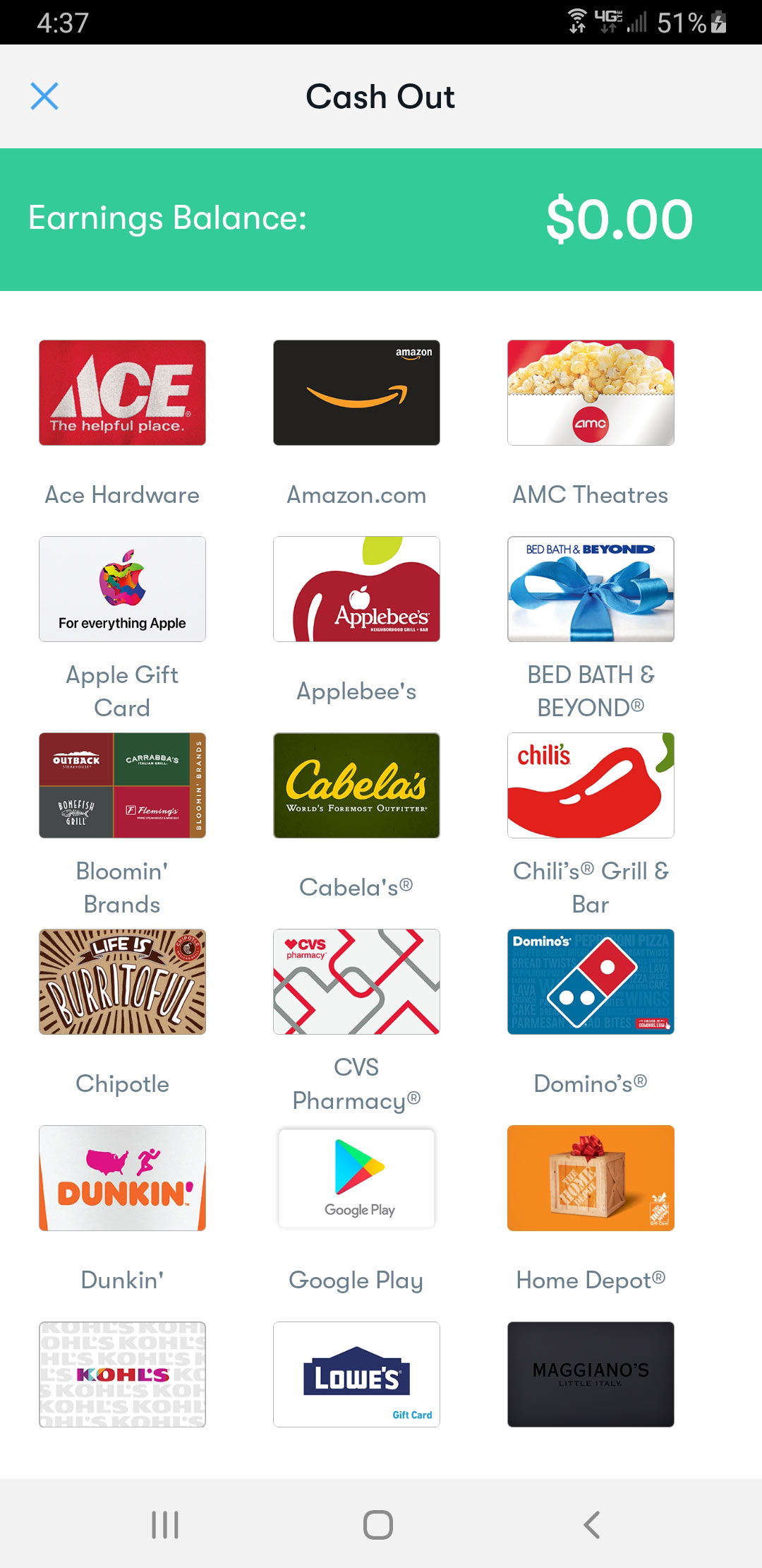 Screenshot showing several of the digital gift card options available for cashing out your cash back balance on GetUpside.