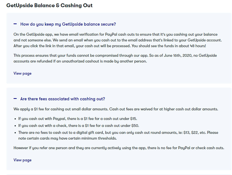 Screenshot from GetUpside's FAQ page providing details of how to cash out using a check or Paypal transfer.