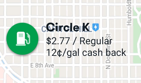 Sample of a gas icon from the offer map of the GetUpside app, with a green gas tank icon, gas station name, effective price and cash back offer.