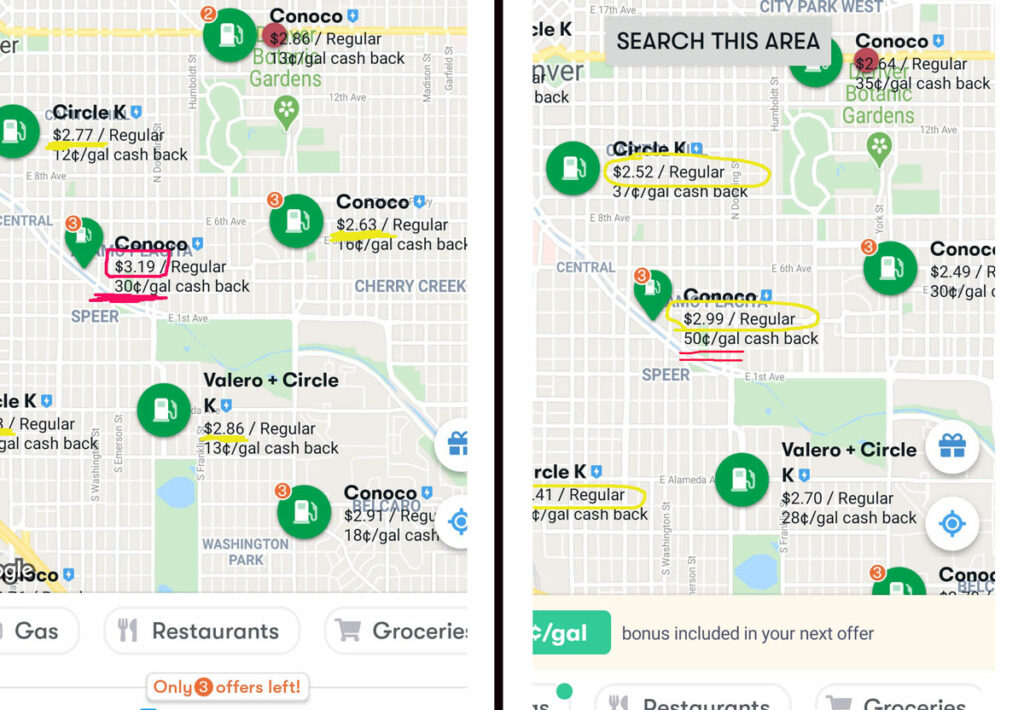Side by side screenshots of GetUpside maps showing very different cash back amounts from two different accounts.