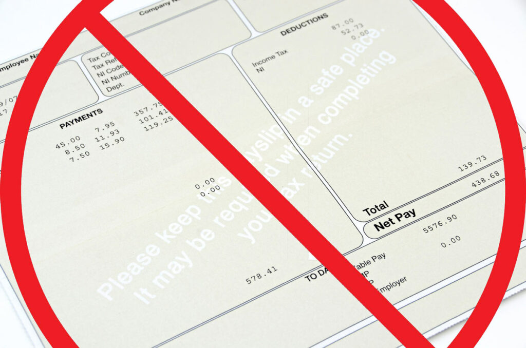 Paystub with deductions with red slash and circle indicating we don't get a paycheck.