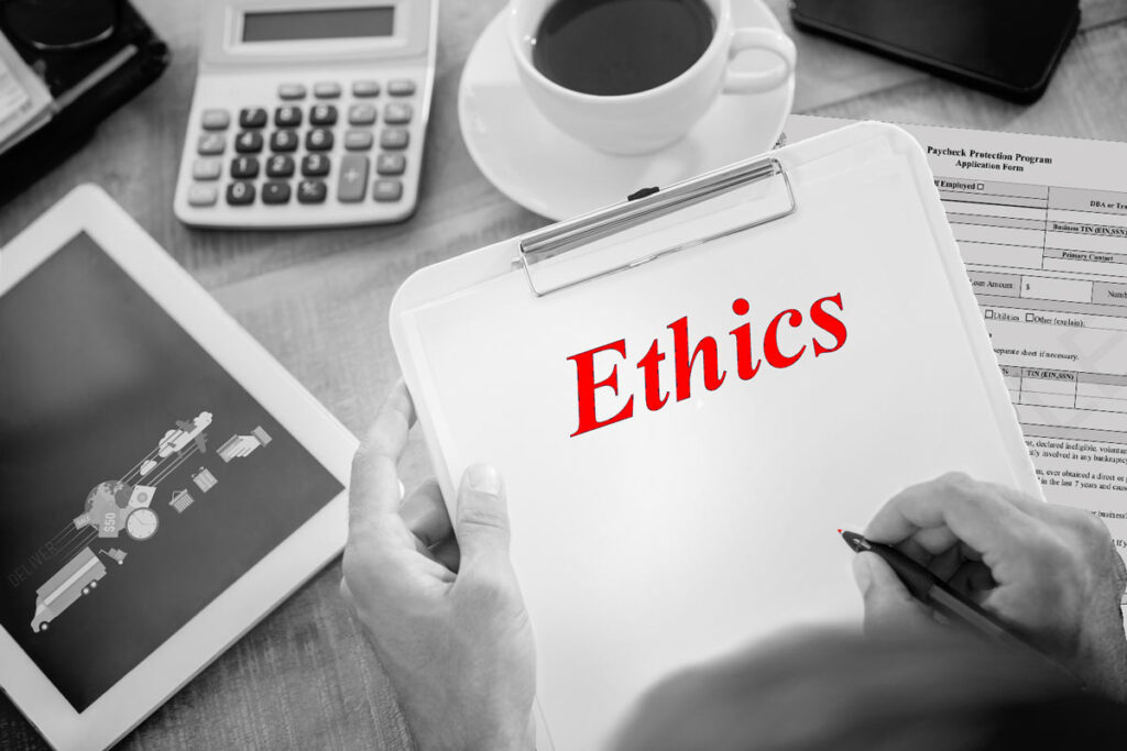 Against the background of a tablet with delivery and commerce icons, a calculator, and a Paycheck Protection Program application, a hand is writing the word Ethics in red on a clipboard.