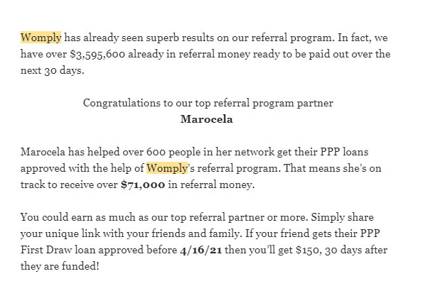 Screenshot of email from Womply referencing how a person named Marocela was on track to receive $71,000 in referral fees for the PPP.