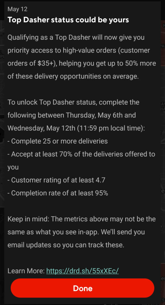 Screenshot of the in app notification where Doordash promised a new top dasher perk. The text of the announcement is quoted below.