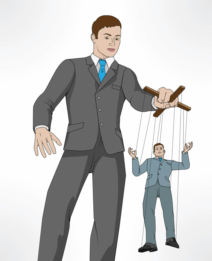 Micromanagement concept illustrated by a man in a suit acting as a marionette with the employee being controlled by strings.