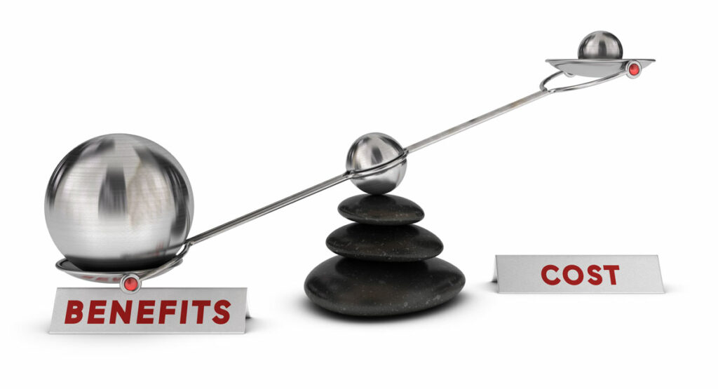weighing benefits against costs illustrated by a scale, with Benefits as a large ball bearing and cost as a smaller bearing.