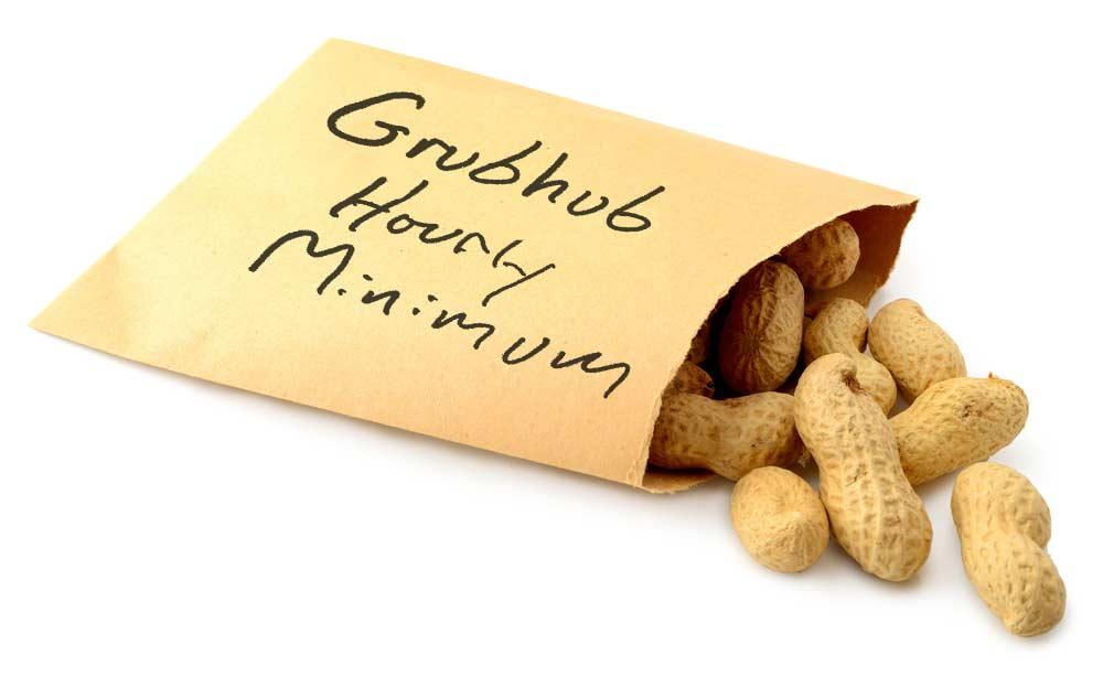 Envelope full of peanuts with handwritten label Grubhub Hourly Minimum.