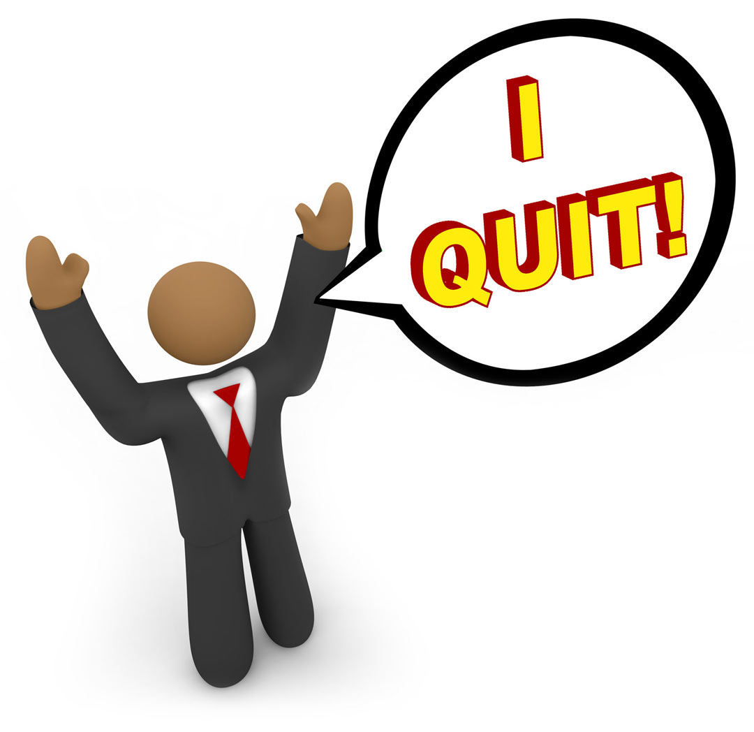 3d illusrration of man in suit with arms up and speech bubble saying I Quit!