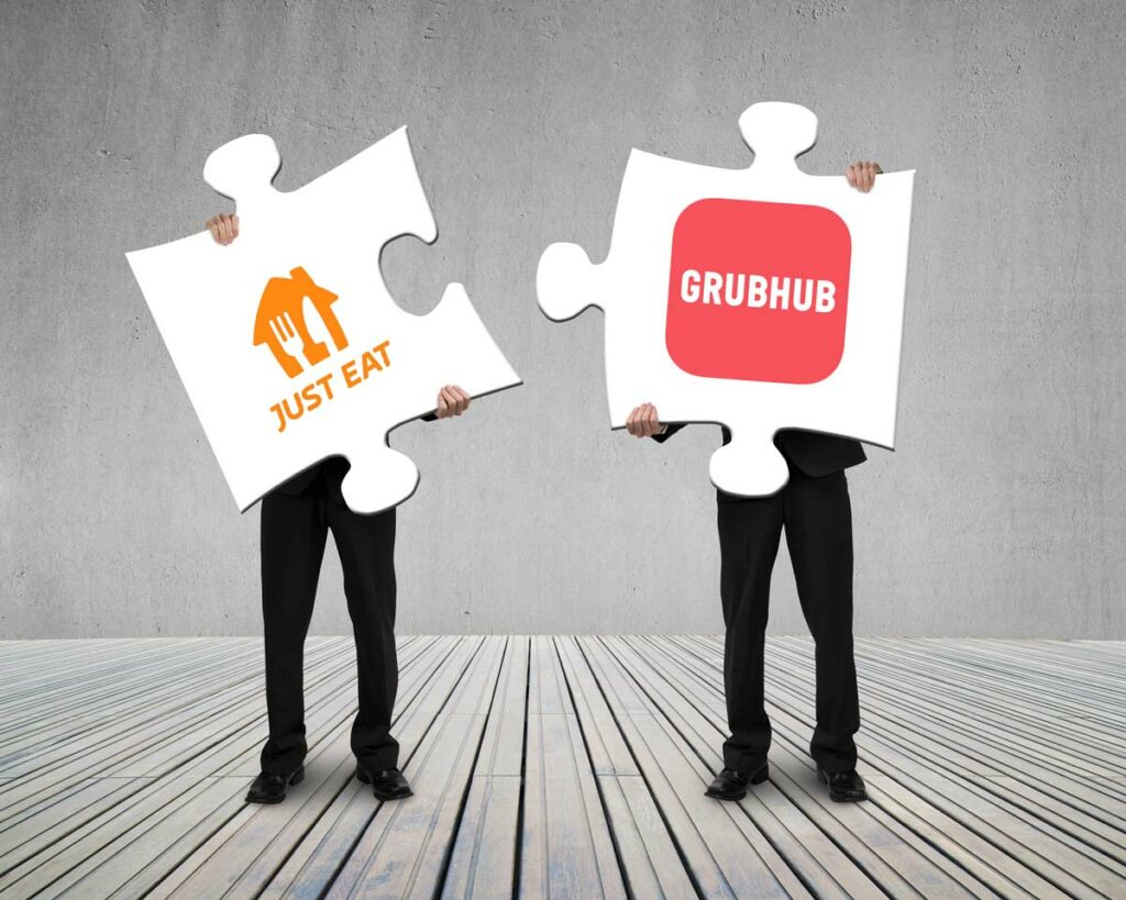 Grubhub Just Eat Takeway merger illustrated by businessmen holding up puzzle pieces with the respective businesses' logos.