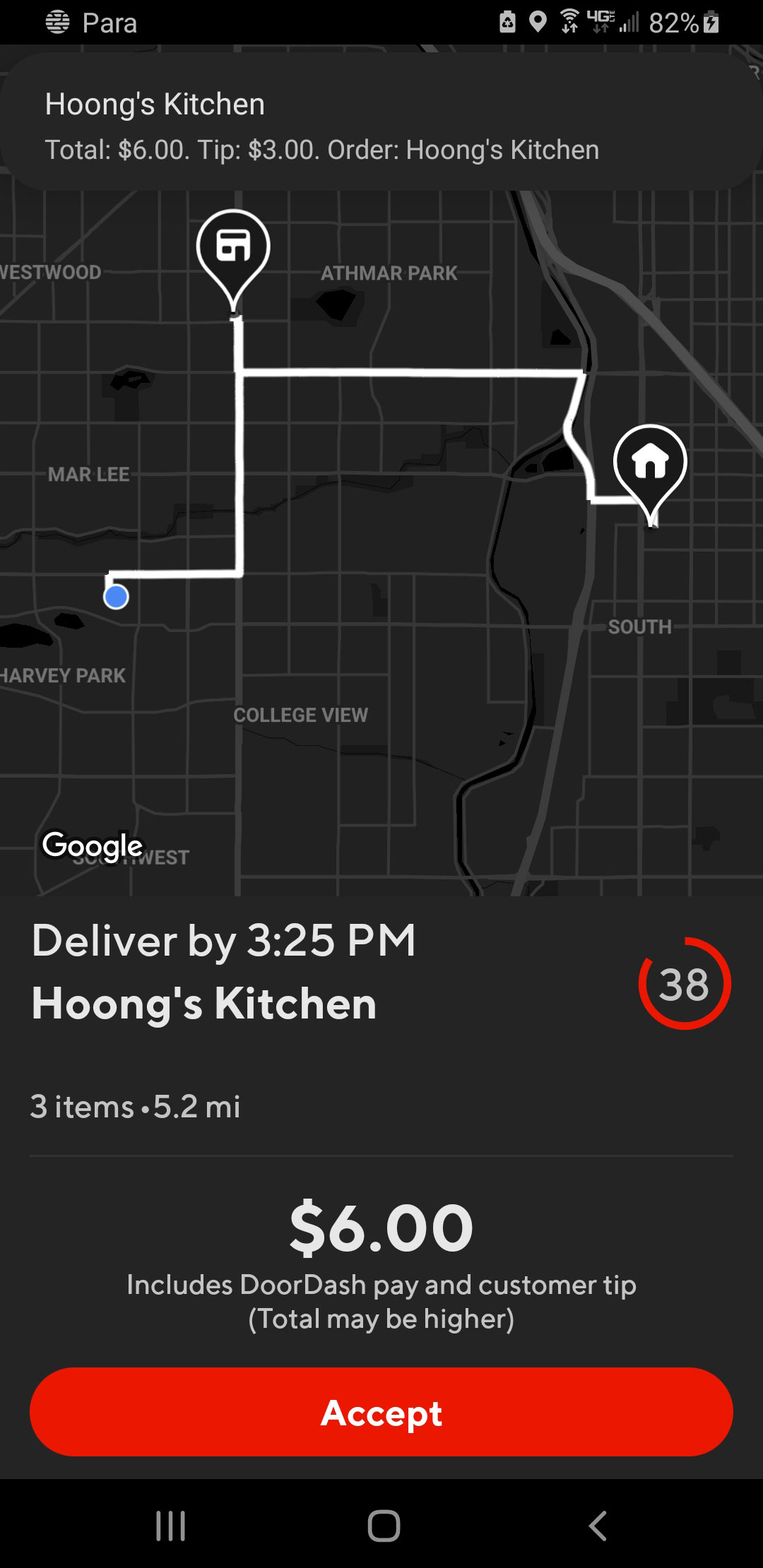 Screenshot of a delivery offer from Doordash, with notification overlaid from Para Tip Transparency showing the restaurant, total pay, and tip amount for the offer.