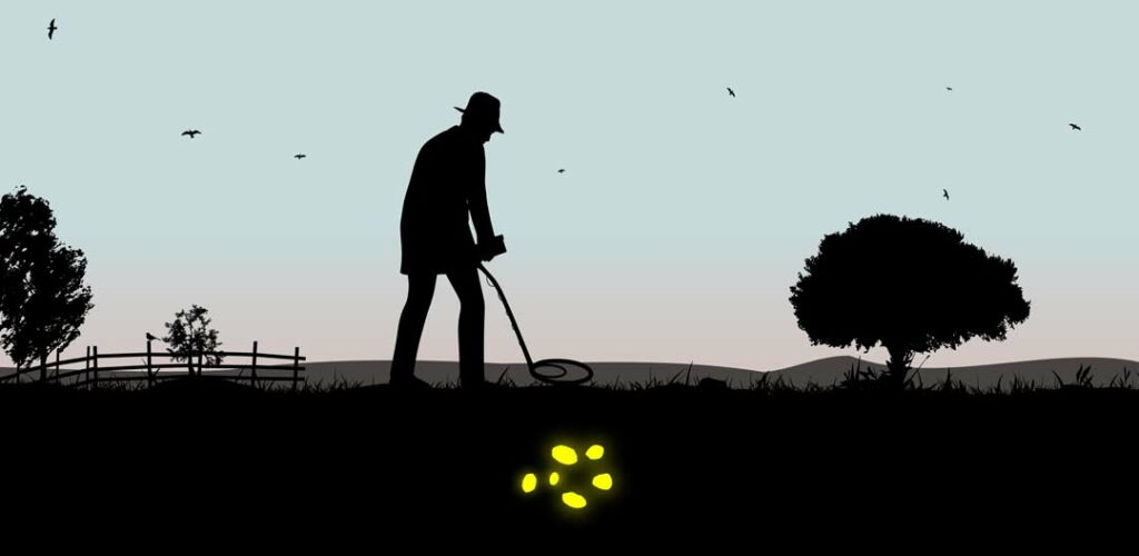 sillhouette of a man at dusk out in a field with a metal detector searching for buried treasture.