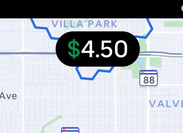 Screenshot of Uber Eats Driver home screen focusing on the dollar amount.