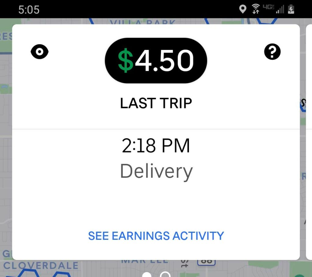 Screenshot of Uber Eats earnings summary of the last trip completed.