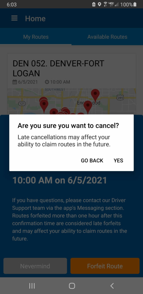 Screenshot of the cancellation confirmation screen for a Veho delivery route asking if you are sure you want to cancel? Late cancellations may affect your ability to claim routes in the future.