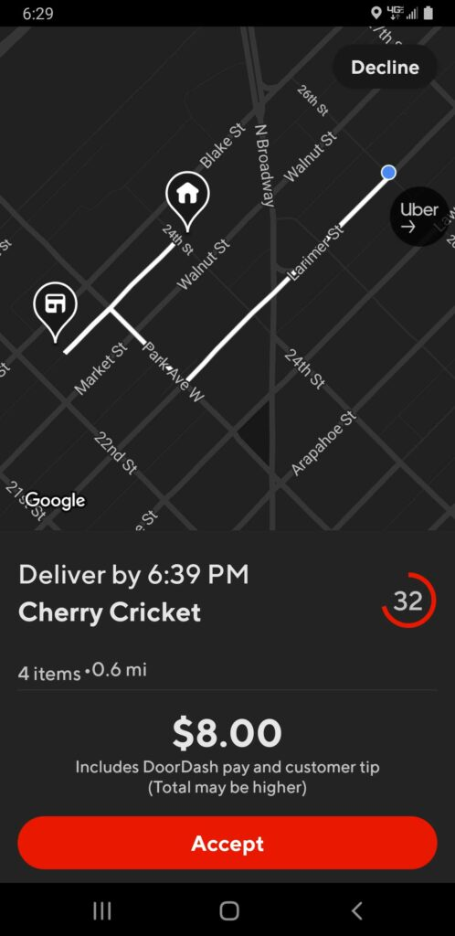 Screenshot of a Doordash delivery offer that gives a price but says the Total May be Higher.