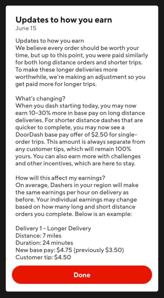 Screenshot of announcement from Doordash that they are updating how