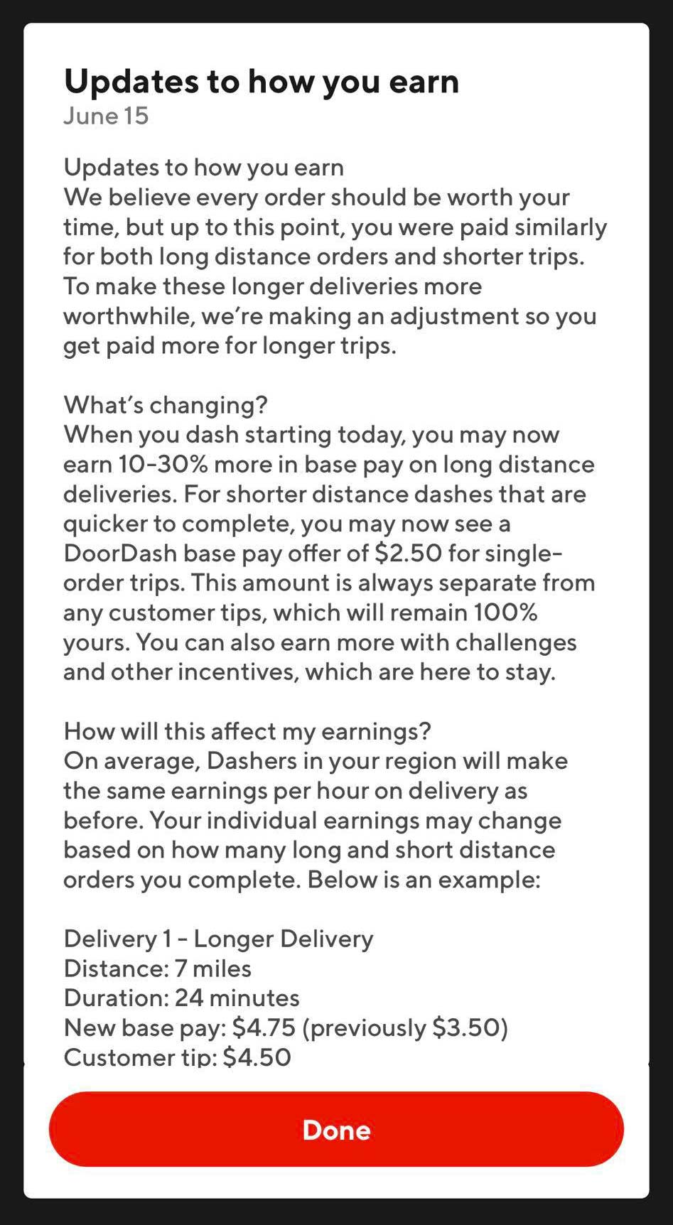 Screenshot of notification that some Dashers have received telling them that they will earn more for longer deliveries (and less for shorter ones)