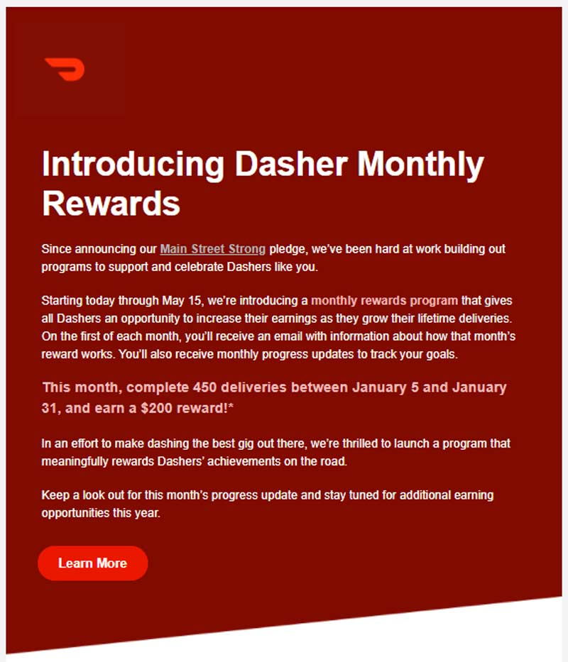 Screenshot from Doordash announcing a 450 delivery challenge in which they will pay $200 extra if someone completes 450 deliveries between January 5 and January 31.