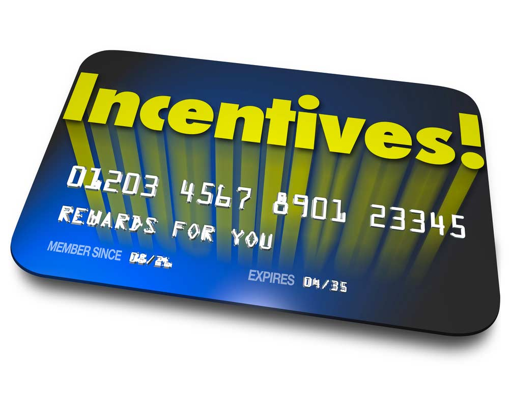 A credit card with the word Incentives across the top and Rewards For You in the name field, signifying Doordash promotions and incentives for Dashers.
