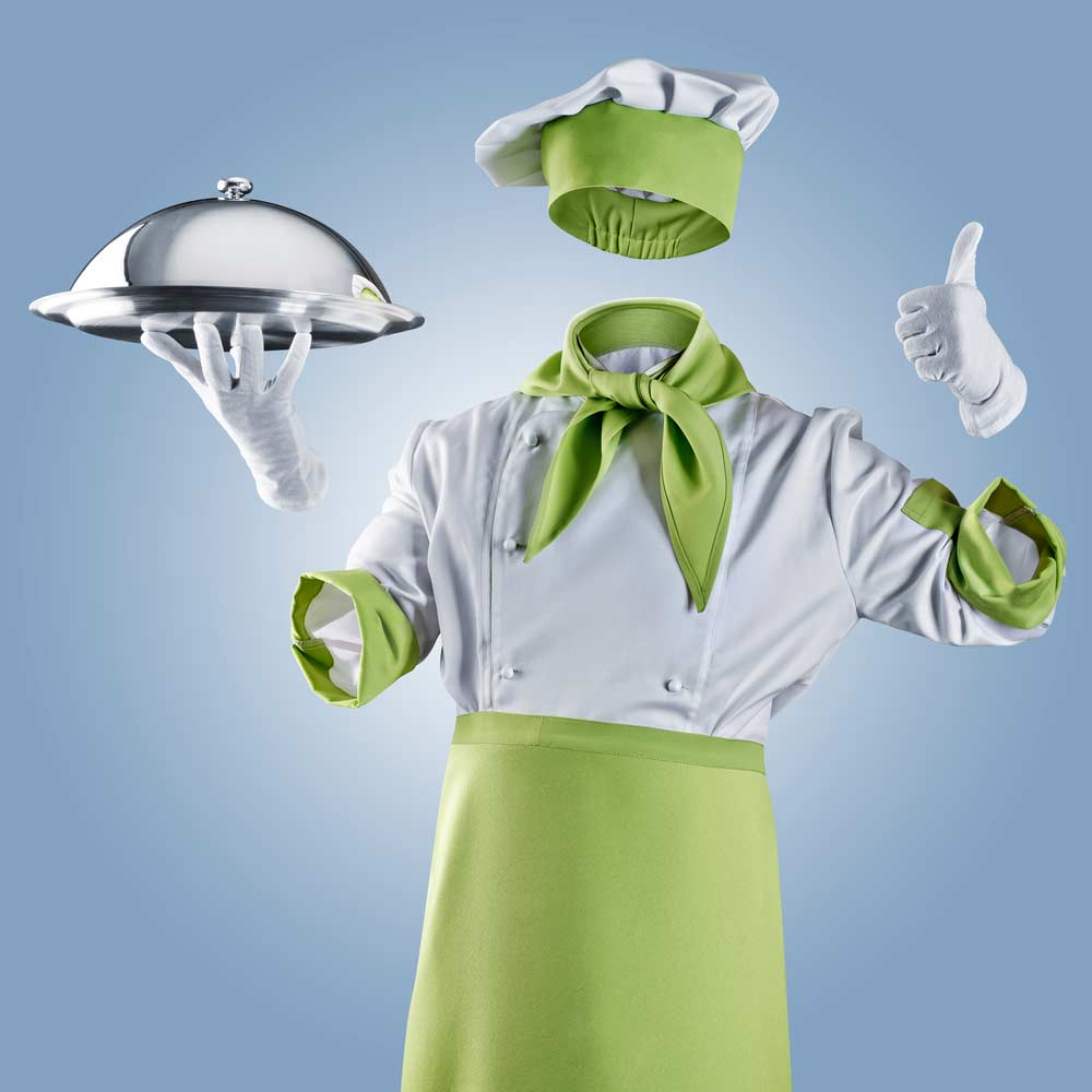 An invisible chef holding food with gloved hand and chef's hat, holding a gloved thumb up.