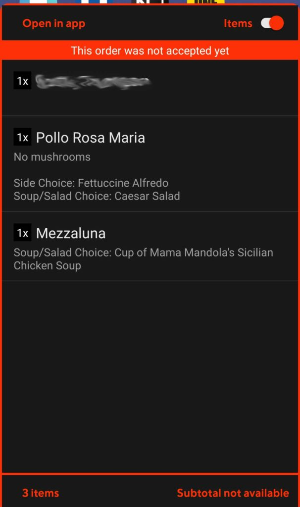 Item screen from the Doordash floating dash widget that shows the actual menu items.
