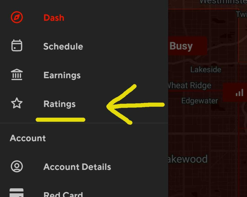 Screenshot of the main menu of the Dasher app, with the Ratings option underlined in yellow and an arrow pointed to it.