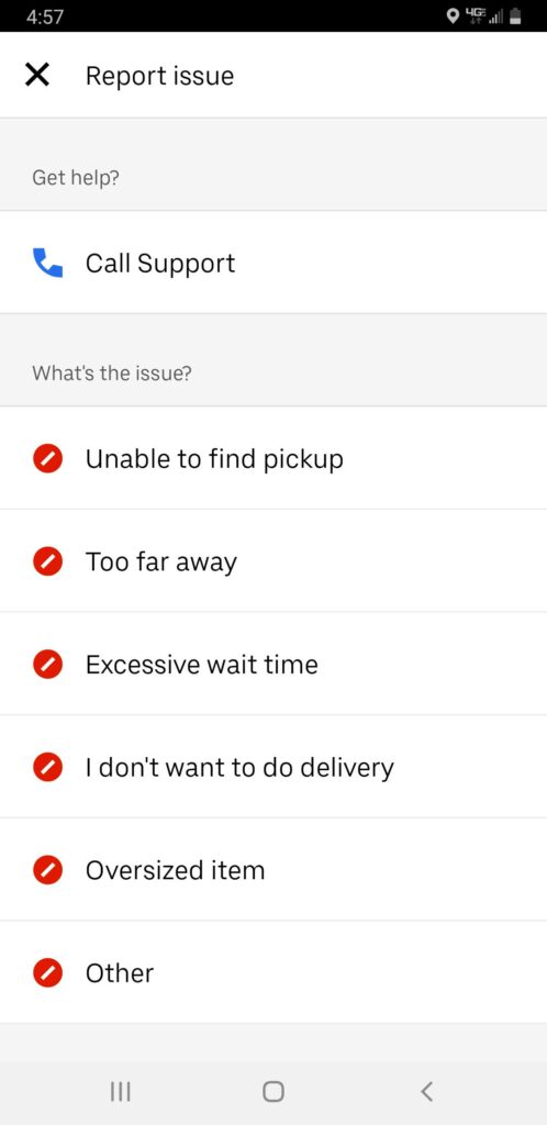 Screenshot of Uber Eats report issue screen with options to call support, and a list of reasons you may want to cancel a delivery.